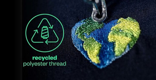 Coloreel embroidery with recycled polyester thread